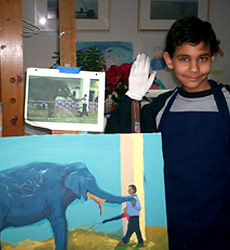Ben with his first painting that included a person!